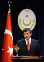epa02893369 Turkey's Foreign Minister Ahmet Davutoglu speaks during a press conference in Ankara, Turkey, 02 September 2011. Davutoglu said Turkish-Israeli diplomatic relations are to be downgraded to the level of second-secretary. A United Nations review of Israel's May 2010 raid on a Gaza-bound aid ship, in which nine activists were killed, has found Israel at fault but said Israel's blockade of Gaza was both legal and appropriate, according to the New York Times. The U.N. report said the way Israeli forces boarded the vessels was 'excessive' and 'unreasonable.'  EPA/VOLKAN FURUNCU TURKEY OUT  EDITORIAL USE ONLY/NO SALES/NO ARCHIVES