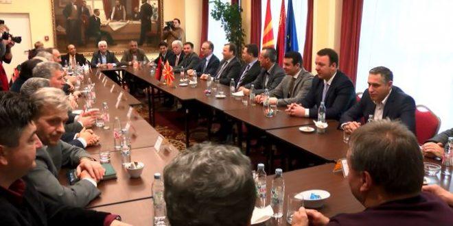 Средба на партиите од коалицијата на ВМРО ДПМНЕ  Ахмети и Груевски очи во очи