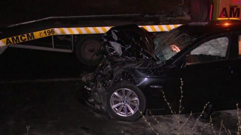 Автомобил урна столб од улично осветлување во Велес
