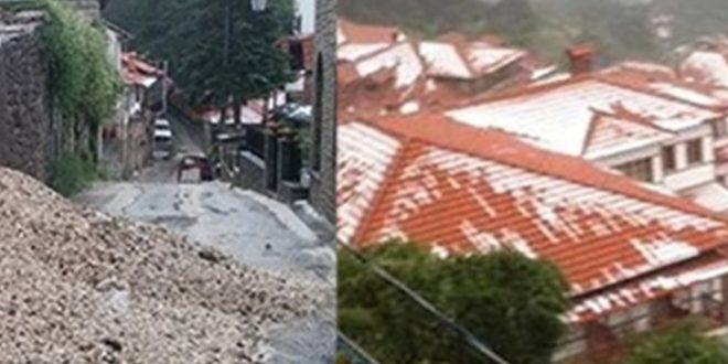 Во Грција ситуацијата е апокалиптична  Снег на Олипм  дожд и град  а гром уби човек