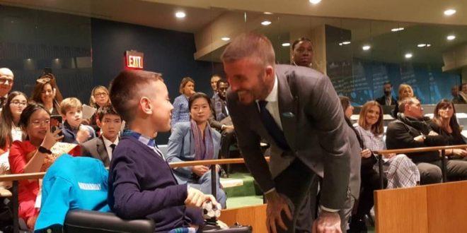 Малиот Јане Велковски во ОН се сретна со Дејвид Бекам