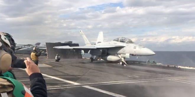 """Заев, Шекеринска и Џафери на средба со адмиралот Фого на носачот на авиони """"Хари С. Труман"""" (ВИДЕО)"""