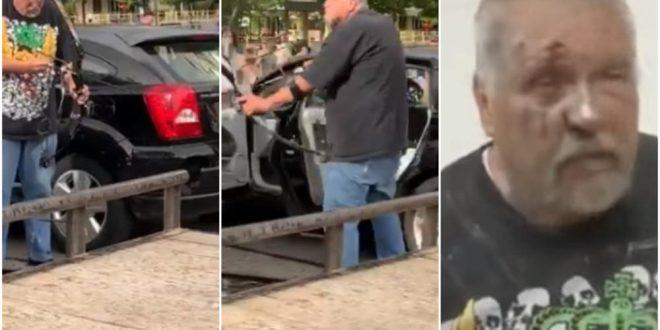 Со лак и стрела ги нападнал демонстрантите во САД: Брутално го претепале и му го уништиле автомобилот (видео)