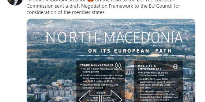 Жбогар: Северна Македонија направи уште еден важен чекор на патот кон ЕУ
