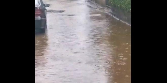 Поплавени улици во Пржино (ВИДЕО)