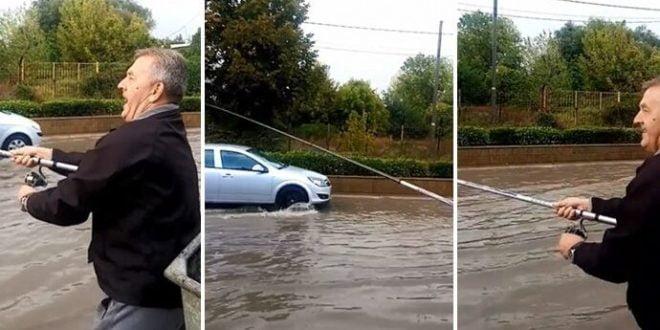 Кумановски мајтапџија: Ловеше риба на поплавената улица (ВИДЕО)